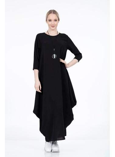 Vitrin Truvakar Kol Uzun Bol Form Elbise Siyah